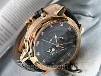 Мужские Patek Philippe - SKY MOON tourbillon черный кожаный ремешок, корпус - розовое золото, черный циферблат