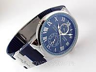 Мужские часы Ulysse Nardin - Le Locle 1845 механические с автозаводом, корпус серебристый, ремешок синий