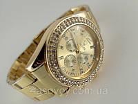 Женские часы ROLEX -  металлический браслет, цвет корпуса и браслета золото.