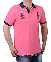 Футболка мужская поло летняя Ralph Lauren-105 розовая