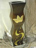 Ваза керамическая коричневая фигурная с золотая цветком 62см