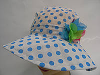 Детская шляпа -  голубой горошек