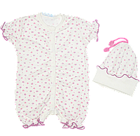 Песочник-футболка и шапочка без завязок, однотонный с мелким узором, стрейч-кулир, р. 56, 62, 68