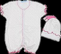 Песочник-футболка и шапочка без завязок, в горошек, стрейч-кулир, р. 56, 62, 68