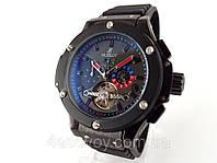Механические часы HUBLOT - Geneve  с автозаводом, каучуковый черный ремешок, черный корпус