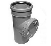 Ревизия ПВХ Wavin с раструбом и уплотнительным кольцом для внутренней канализации серая 75