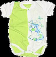 Детский боди-футболка р. 62 ткань КУЛИР 100% тонкий хлопок ТМ Незабудка 3080 Розовый