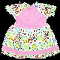 Платье с коротким рукавом р. 92, тонкий хлопок, ТМ Ромашка