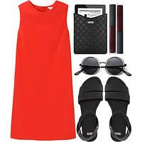Платье летнее свободного кроя красного цвета