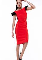Платье футляр летнее красное с черными воланами