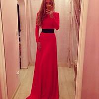 Красное длинное платье золотой песок