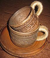 """Чашка глиняна """"Трипілля"""" 0.25л з обплітеною ручкою"""