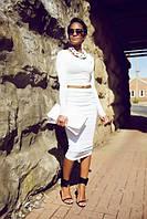 Костюм трикотажный топ и юбка белого цвета