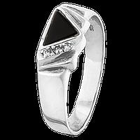 """Мужское серебряное кольцо с ониксом """"008"""""""