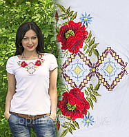 Национальная футболка маки белая