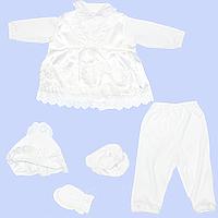 Крестильный комплект: платье, штанишки, шапочка, пинетки и царапки; хлопок, ТМ Ромашка, р. 68, 74