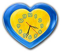"Настенные фигурные часы ""Люблю Украину"", часы с объемным эффектом, часы на стену, часы для дома"