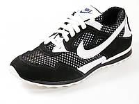 Кроссовки спортивные черные летние натуральный нубу  мужские Nike сетка, фото 1
