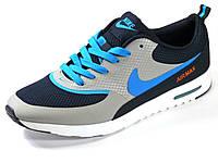 Кроссовки летние мужские серые/черные текстиль Nike Air Max, фото 1
