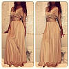Модное платье в пол на запах с поясом