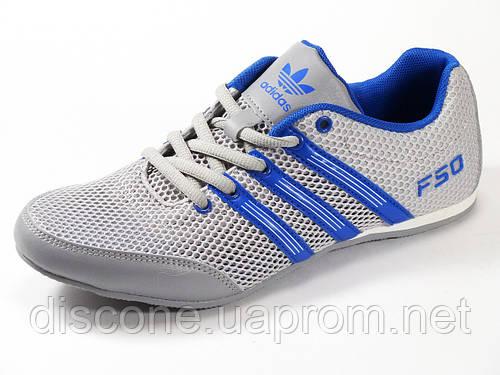 Кроссовки летние унисекс текстиль серые подросток спортивные шнурок Adidas