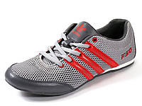 Кроссовки мужские серые/красные летние Adidas сетка текстиль спортивные шнурок, фото 1