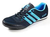 Кроссовки мужские синие летние Adidas сетка текстиль спортивные шнурок, фото 1