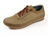 Коричневые мужские спортивные туфли сетка летние шнурок GS-комфорт, фото 1
