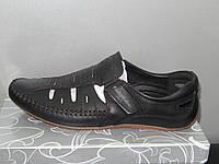Туфли мужские летние кожаные черные № 023-2