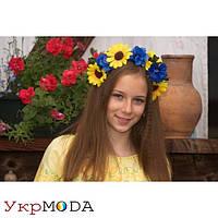 Украинский венок - обруч Подсолнухи и Васельки с лентами