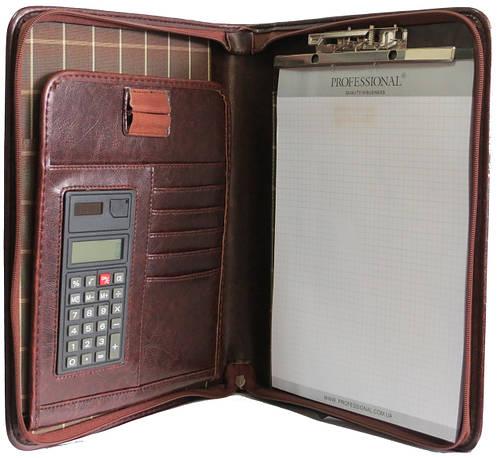 Папка с калькулятором классическая деловая из кожзаменителя Professional Артикул: 756.23 коричневая