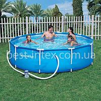 Круглый каркасный бассейн Bestway 56260 (366-100 см.) + Фильтрующий насос