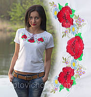 """Украинская вышитая футболка """"Маки"""""""