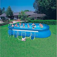 Intex 57982 (610x366x122 см.) ПОЛНЫЙ КОМПЛЕКТ. Сборный каркасный бассейн с надувным овальный кольцом