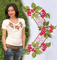 Украинская вышитая футболка с узором Калина