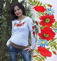 Украинская вышитая трикотажная футболка с длинным рукавом