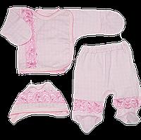 Костюм для новорожденного (на выписку): распашонка, ползунки, шапочка. Мультирип, ТМ Ромашка, р. 56
