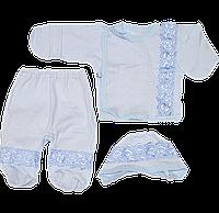 Костюм для новорождённого (на выписку): распашонка, ползунки, шапочка. Мультирип, ТМ Ромашка, р. 56