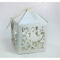 Бонбоньерка птичка кремовая упак коробка(белый)(код 02839)