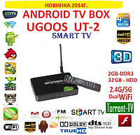 UGOOS UT2 Android tv box 4ядра 2гб DDR3 LAN USB AV-out пульт +2.4/5 HZ WIFI +НАСТРОЙКИ I-SMART