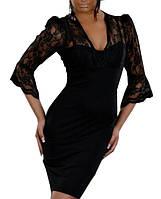 Очаровательное черное платье с гипюровыми вставками, хит продаж!