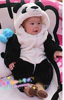 Костюм панда на синтепоне куртка комбинезон с ушками 100