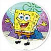 "Вафельная картинка ""Губка Боб"" круг на А4 (код 1262)"
