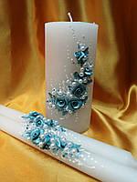 """Свадебные свечи """"Ветка розы"""" бирюзовая."""