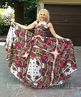Платье макси из платка без рукава в стиле Матрешка
