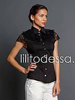 Блуза с гипюровым жабо черный