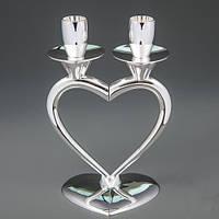 """Свадебный подсвечник  для 2-х свечей """"Половинки сердца"""""""