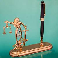 """Настольный набор Ручка  на подставке со статуэткой """"Фемида"""" подарок юристу"""