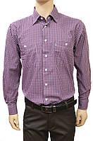 """Рубашки +в клетку мужские """"Brossard"""". Сиреневая клетка. Длинный рукав"""