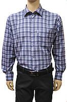 """Рубашка мужская """"Orflaem"""". Синяя клетка. Длинный рукав"""